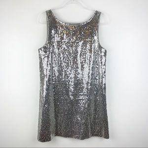 Free People Silver Sequin Scoop Back Mini Dress 12